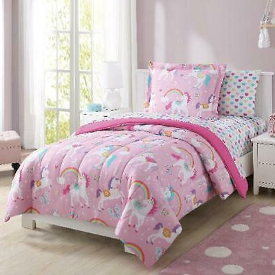 Mainstays Kids Rainbow Unicorn Bed in a Bag Complete Bedding
