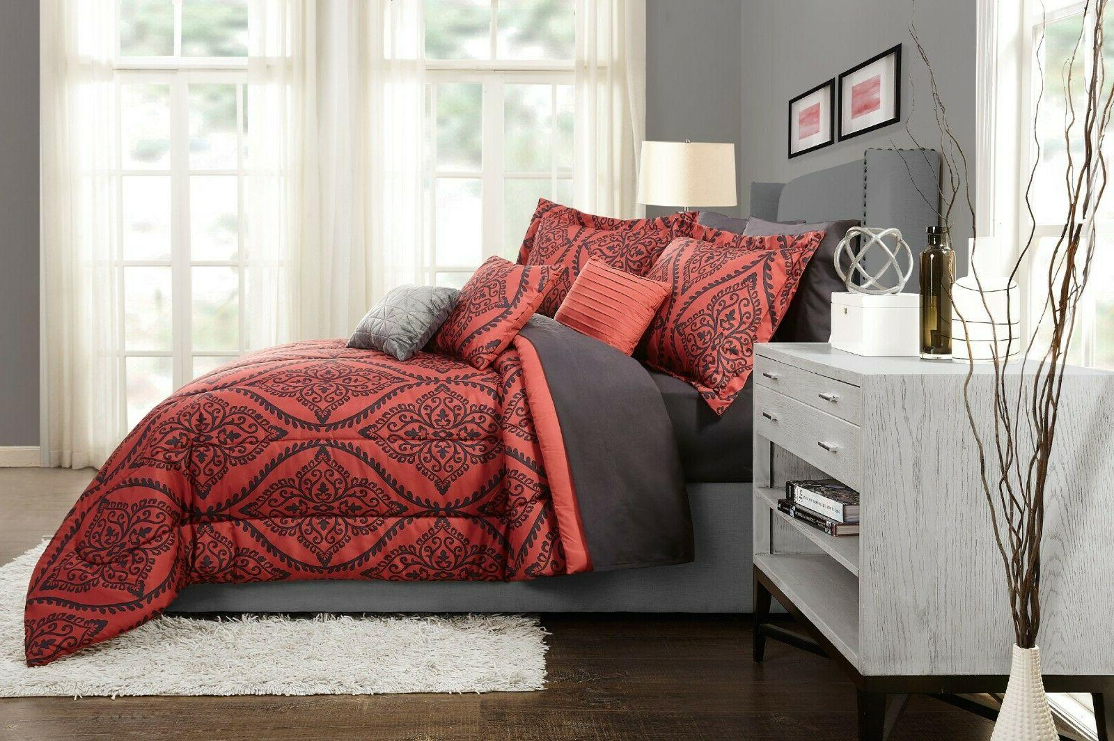 Red Comforter Set Sheets Pillows Bedroom