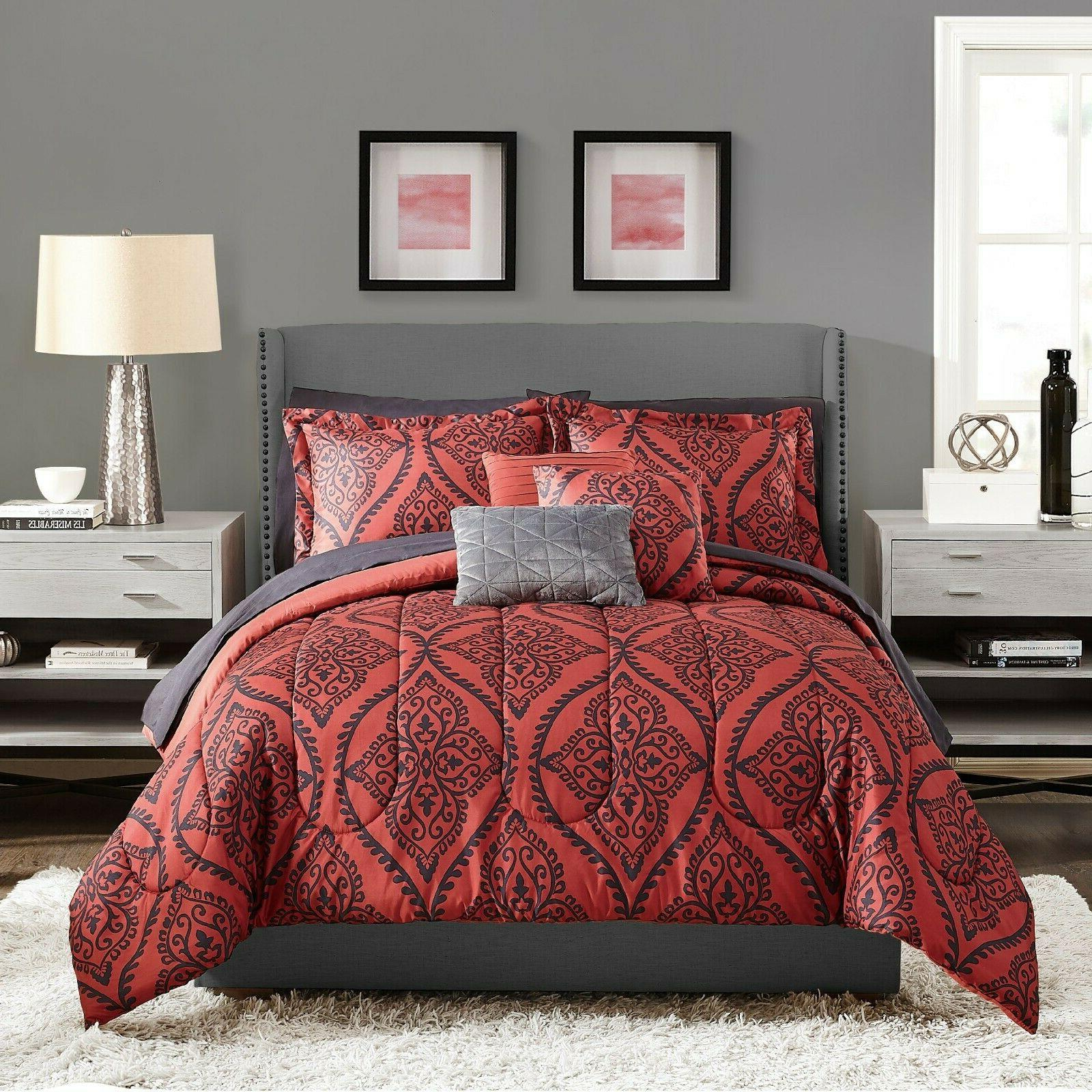 Red Black Size Comforter Sheets Bed Pillows Bedroom NEW