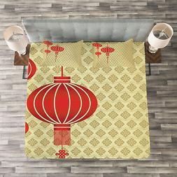 Lantern Quilted Bedspread & Pillow Shams Set, Chinese Baroqu