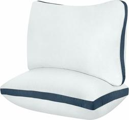 2 Pack Gusseted Pillow Cotton Bed Pillow Luxury Side Sleeper