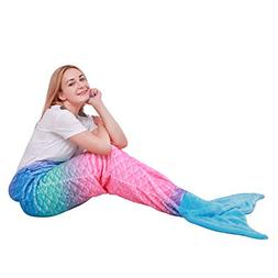 Mermaid Tail Blanket for Kids Teens Adults,Plush Soft Flanne