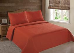 MIDWEST BRICK  NENA SOLID QUILT BEDDING BEDSPREAD COVERLET P