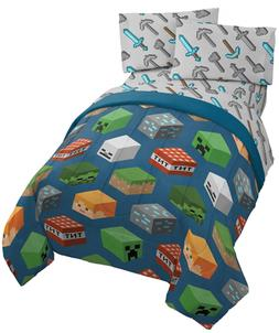 Jay Franco Minecraft Isometric 5 Piece Full Bed Set - Includ