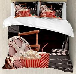 Ambesonne Movie Theater Queen Size Duvet Cover Set, Objects