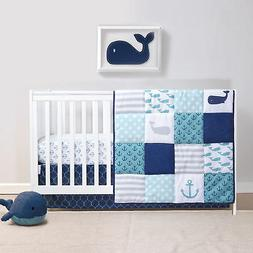 Nautical 4 Piece Whales and Anchors Baby Crib Bedding Set by