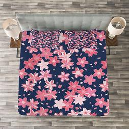 Navy and Blush Quilted Bedspread & Pillow Shams Set, Japanes