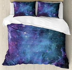 Nebula Duvet Cover Set with Pillow Shams Galaxy Stars in Spa