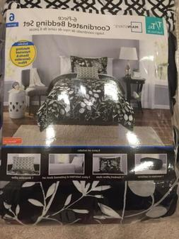 NEW 6 Piece Black Gray Floral Twin/Twin XL Comforter Set Bed