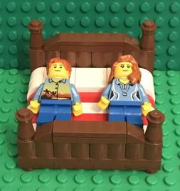 Lego New King Size Bed With Boy And Girl Mini Figure,MOC hom