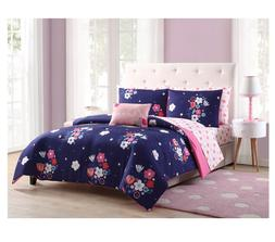 New Purple Floral Full Size Comforter Set Sheets Reverse Pin