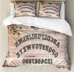 Ouija Board Duvet Cover Set with Pillow Shams Wooden Texture