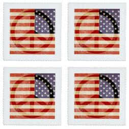 """3dRose Peace Sign American Flag-Quilt Square, 8 by 8"""""""