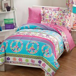 Peace Sign Bedding Set For Girls Comforter Teens Twin Bed In