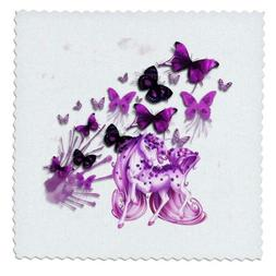 3dRose Pretty pink Unicorn and butterflies bright colorful a