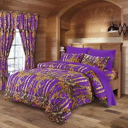 7 PC PURPLE CAMO COMFORTER AND SHEET SET QUEEN CAMOUFLAGE WO