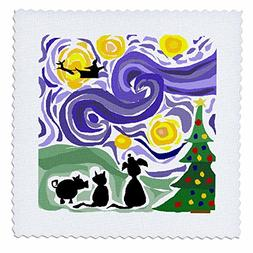 3dRose qs_221358_3 Funny Christmas Starry Night Style Art wi