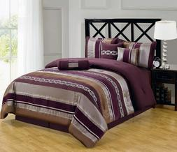Queen Size 7PC Luxury Claudia Purple Bedding Set Includs Bed