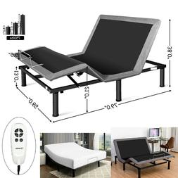 Queen Size Frame Bed Metal Adjustable Base With Remote Contr
