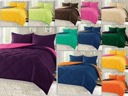 Empire Reversible 3pc Comforter Set Microfiber Quilted Bed C
