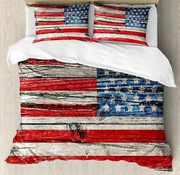 Ambesonne Rustic American USA Flag Duvet Cover Set Queen Siz
