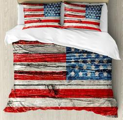 Ambesonne Rustic American USA Flag Duvet Cover Shams King Si