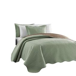 3-piece Sage Taupe Pinsonic Quilted Reversible Bedspread Set
