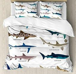 Ambesonne Shark Decor Duvet Cover Set King Size, with 2 pill