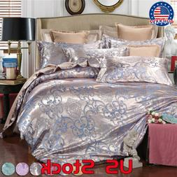 Silky 4 Pcs Set Stain Queen Jacquard King Bedding Wedding Ho