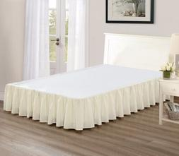 """Chezmoi Collection Solid Beige Ruffled 15"""" Drop Bed skirt Du"""