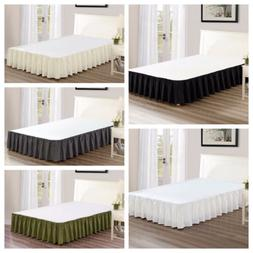 """Chezmoi Collection Solid Chic Ruffled 15"""" Drop Bed Skirt Dus"""