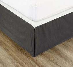 Chezmoi Collection Solid Gray Pleated Dust Ruffle Bed Skirt