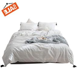 VClife Tassel Cotton Bedding Sets -Full/Queen White Gray Geo