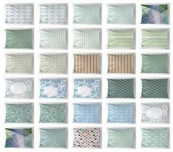 Teal and White Pillow Sham Decorative Pillowcase 3 Sizes Bed