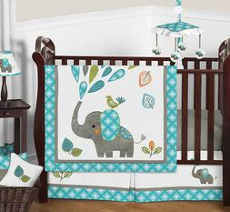 Sweet Jojo Designs 11-Piece Turquoise Blue Gray and White Mo