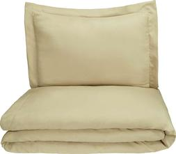 """Twin Duvet Cover Set Tan Bed 100% Polyester 52x84"""" NEW Amazo"""