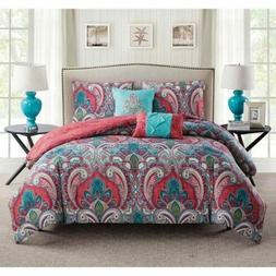 Twin Full Queen King Coral Blue Green Paisley Damask 5 pc Co