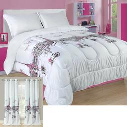 Twin, Full/Queen, or King Paris Comforter Bedding Set Pink G