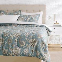 Twin XL Full Queen King Bed Blue Tan Jacobean Floral 3 pc Co