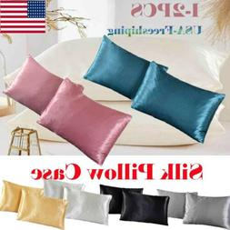US New Soft Mulberry Silk Pillowcase Satin Pillow Cases Cush