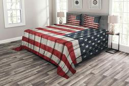 Ambesonne Usa Coverlet Set Queen Size, Fourth Of July Indepe