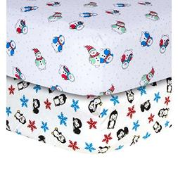 2 Piece Beautiful White Blue Red Snowman and Penguin Flannel