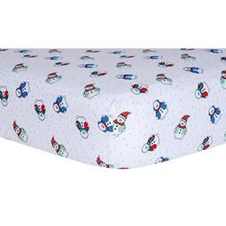 Ln Beautiful White Red Blue Snowman Deluxe Flannel Fitted Cr